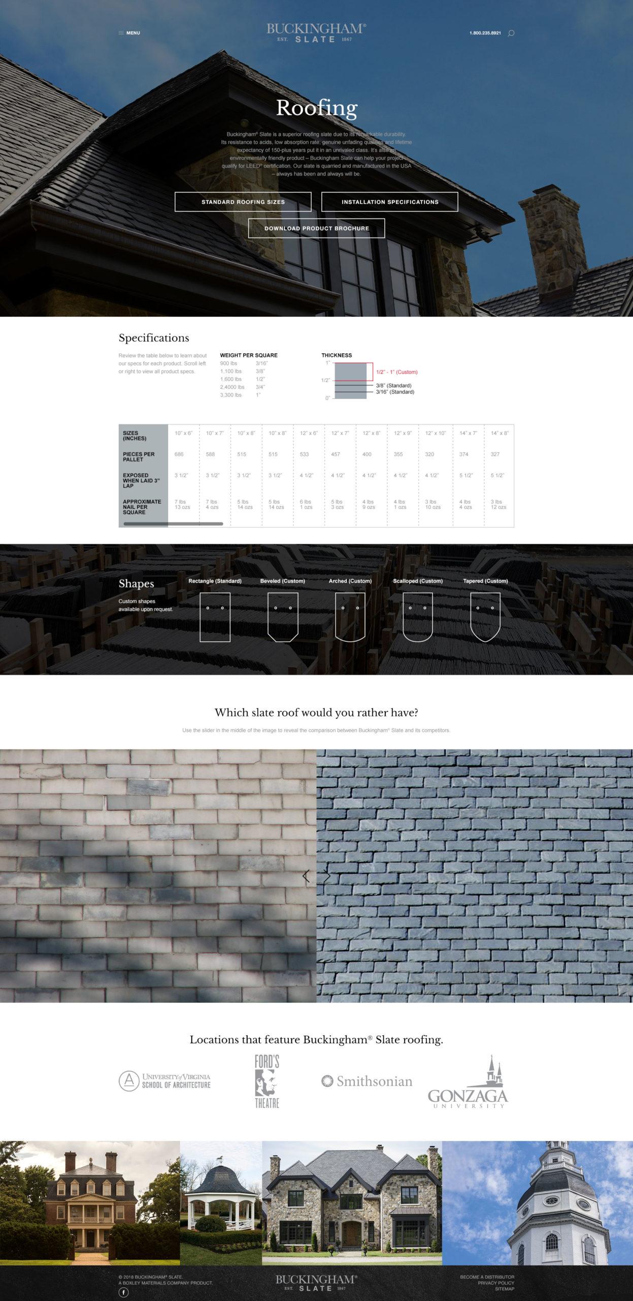 Buckingham Slate Website Design Internal page
